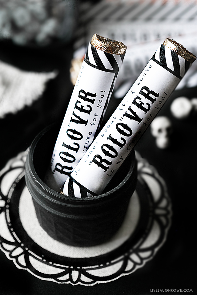 No bones about it, I would ROLO-VER in my grave for you! Super cute Halloween Favors that include the free printable candy wrappers.