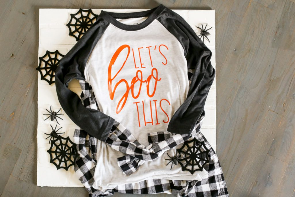 Let's BOO This Halloween Shirt. Make this fun Halloween shirt using the free cut files provided!