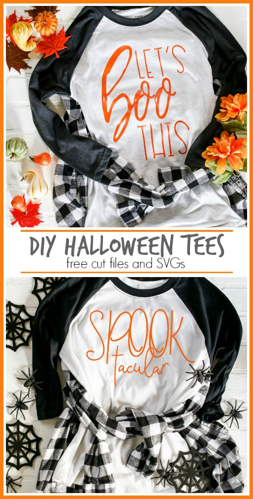 DIY Halloween Tees. Let's BOO This! Free cut files and SVG's so you can make your own fun Halloween t-shirts.