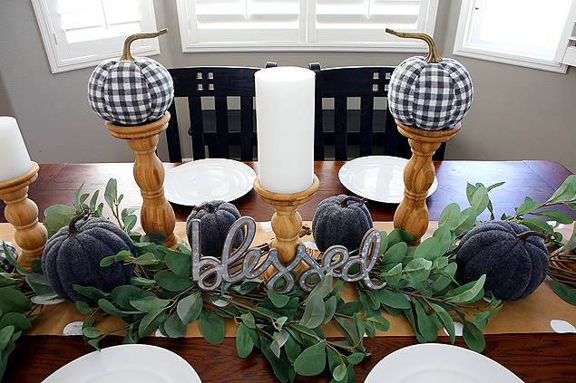 Fall Farmhouse Table. Grey and White with natural wood and greenery!