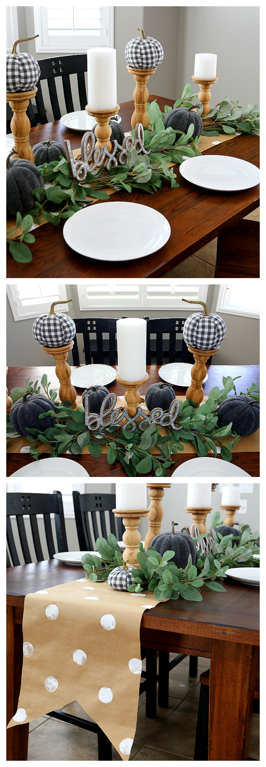 Fall Farmhouse Table | Grey and White with natural wood and greenery makes for a beautiful fall table. Step by step on how we put it all together.
