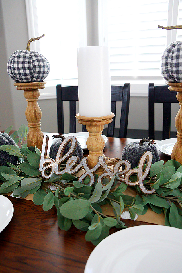 Setting a pretty fall table using faux greenery