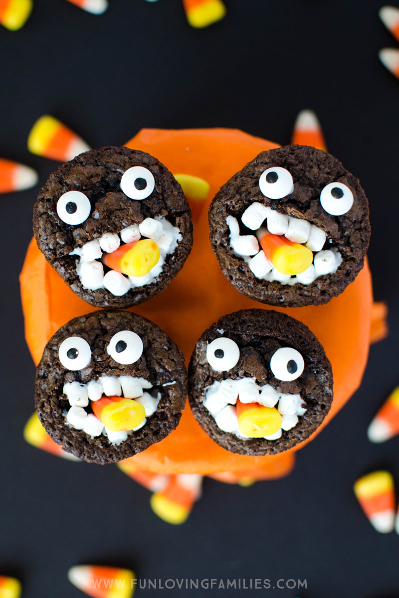 Candy Corn Monster Halloween Brownies