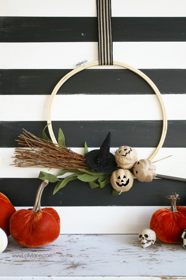 Welcome your guests with a Halloween Hoop Wreath. So easy and fun to make!