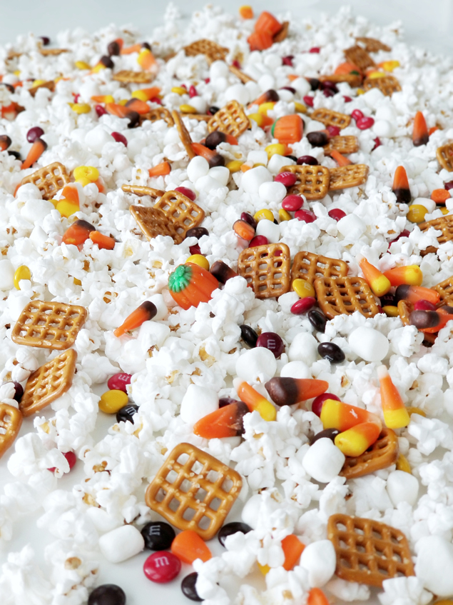 Delicious Halloween Sweet and Salty Popcorn Mix