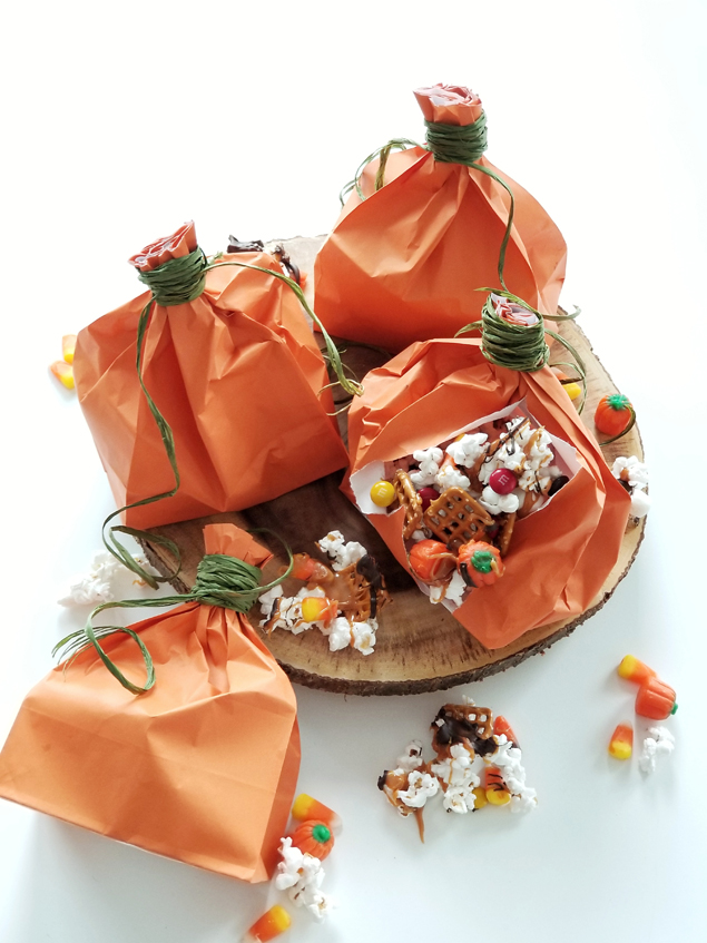 Halloween Popcorn Mix and fun Paper Sack Pumpkins