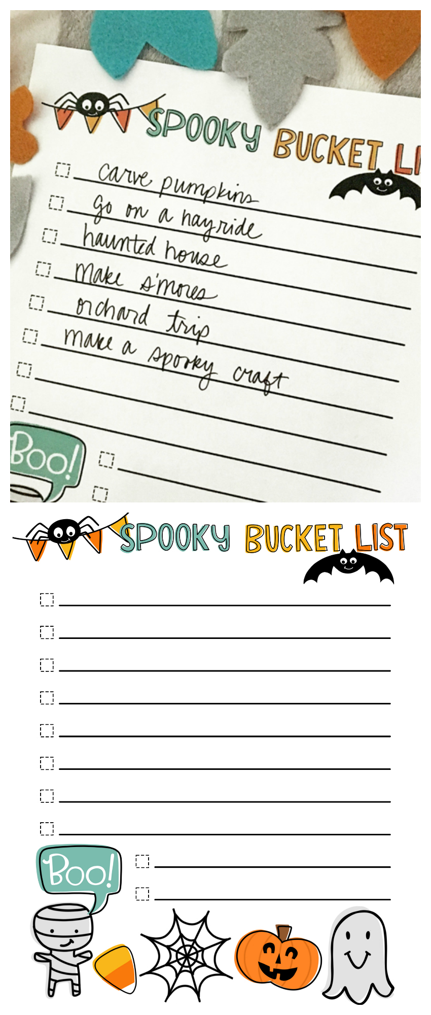 Halloween Bucket List | Print this off for free and fill it with all the fun things you want to do this Halloween Season!