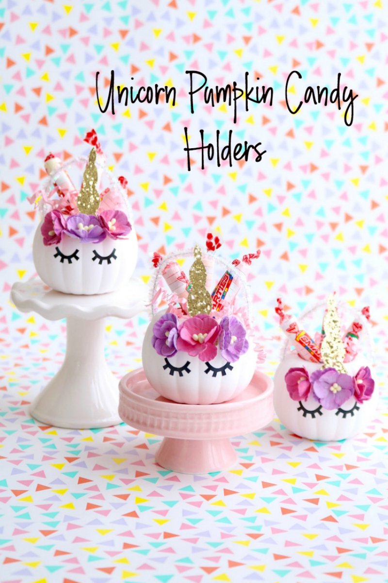 Unicorn Pumpkin Candy Holders. The sweetest little Halloween craft for your unicorn lovers!