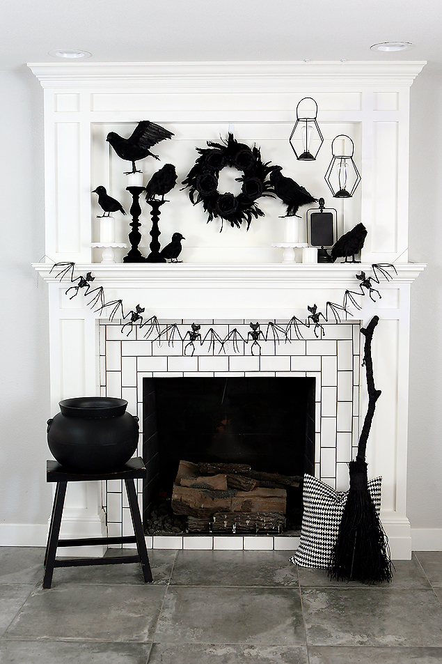Awesome Black and White Halloween Mantel | Fun Halloween Decorating Ideas