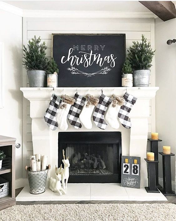 Farmhouse Christmas Decor - Black and White Christmas Mantel | Our Faux Farmhouse