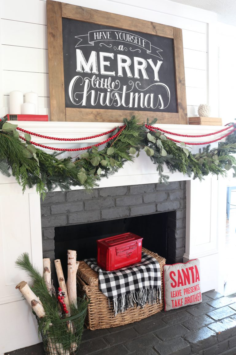 Farmhouse Christmas Decor - Gorgeous Farmhouse Christmas Mantel | Beneath My Heart