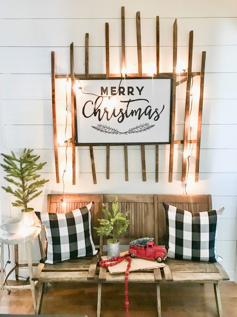 Farmhouse Christmas Decor - Cutest Farmhouse Christmas Hallway | Bless This Nest Blog