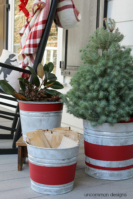 Farmhouse Christmas Decor - DIY Vintage Stripe Galvanized Buckets | Uncommon Designs