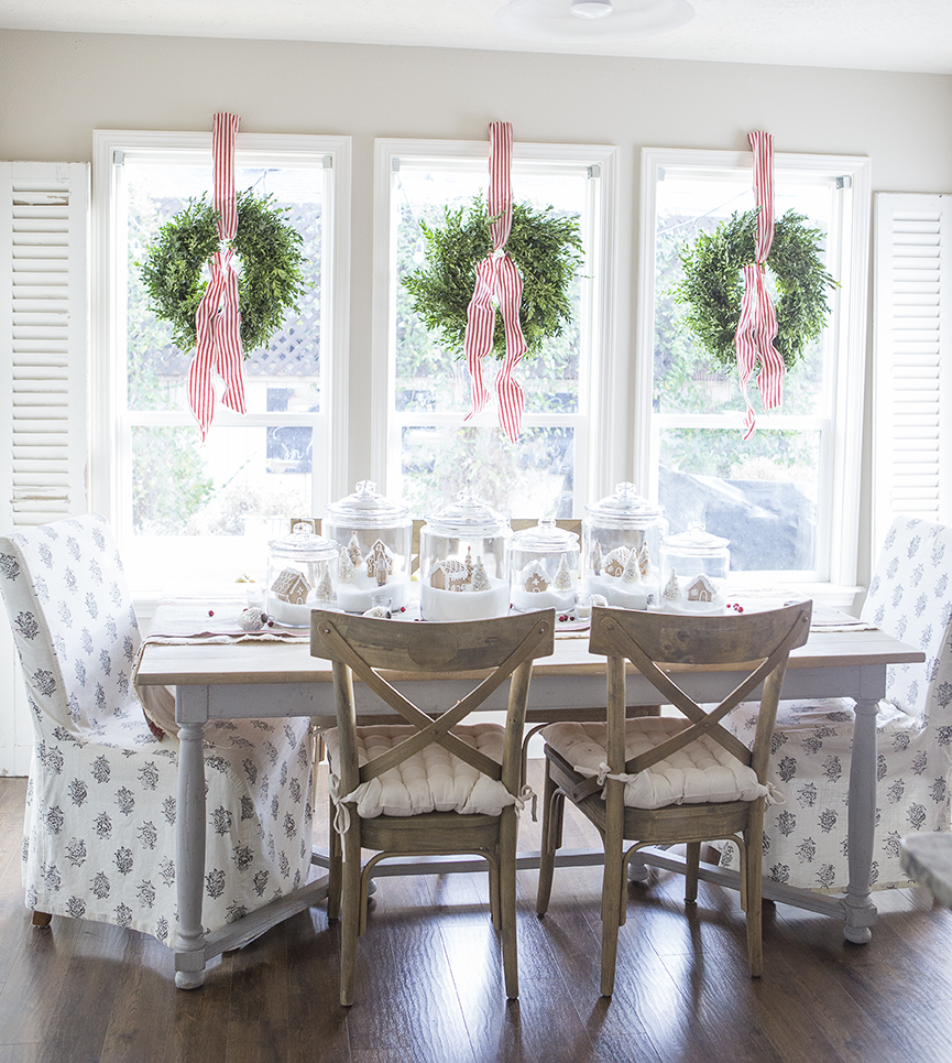 Farmhouse Christmas Decor - Christmas Wreath Ribbon Tying | Ella Claire Inspired