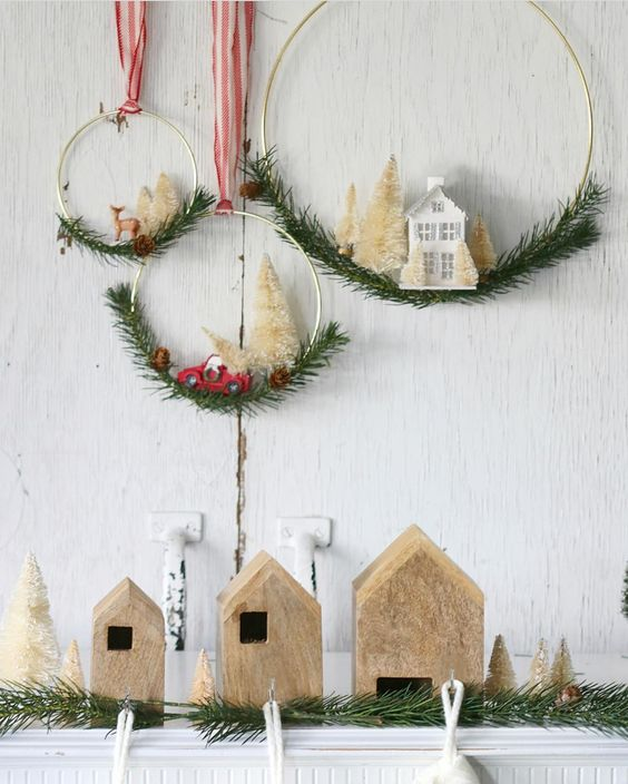 Farmhouse Christmas Decor - Bottle Brush Tree Christmas Wreaths | Lolly Jane