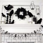 Black and White Halloween Mantel
