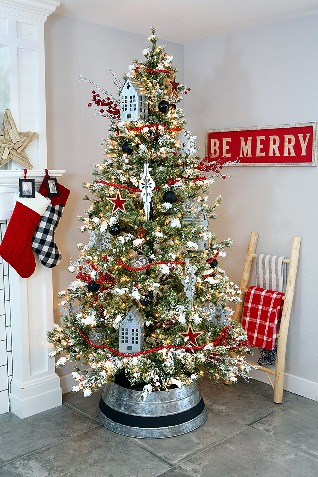 Fun Farmhouse Christmas Tree and Home Decor