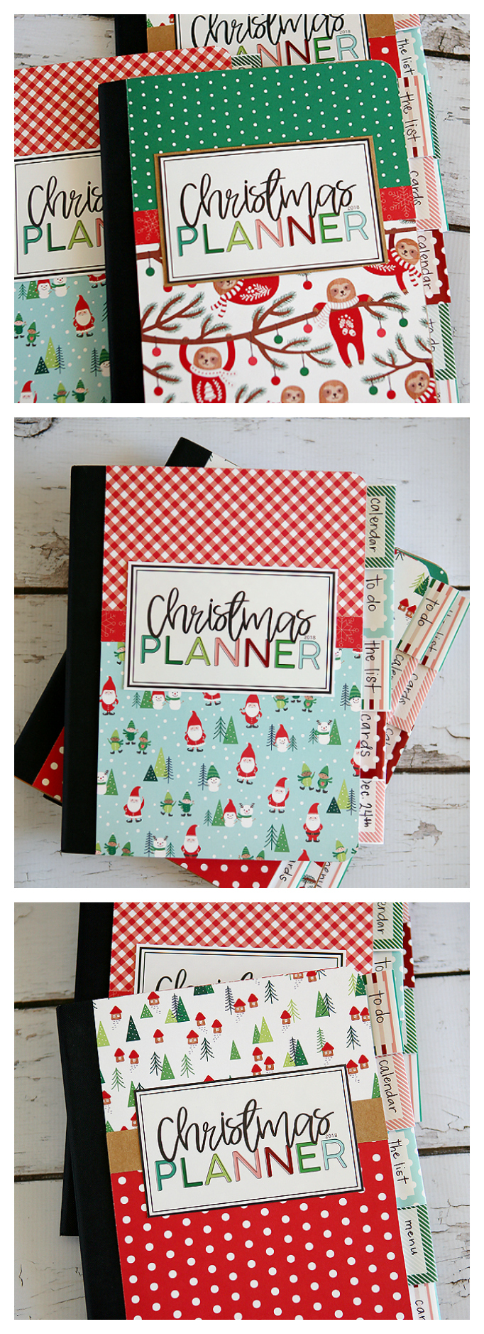 DIY Christmas Planners. Includes all the free printables you need to make them! #Christmasplanner #Christmascraft