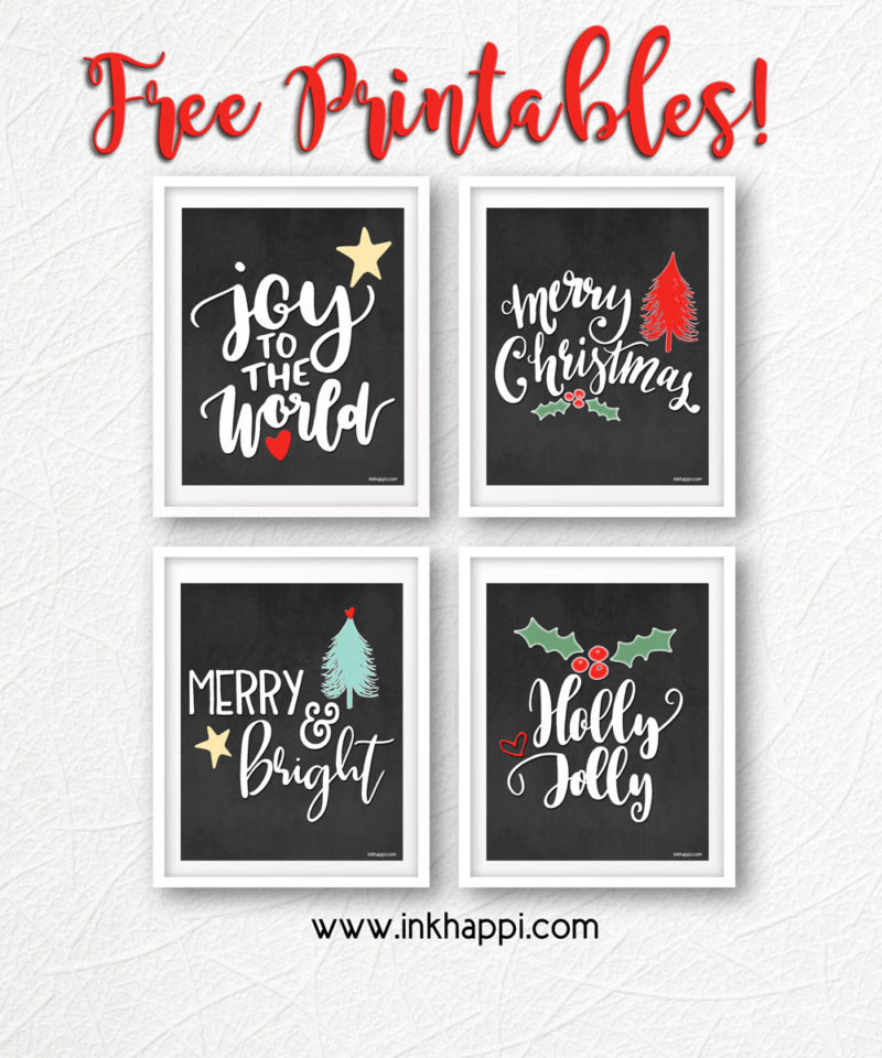 25+ Free Christmas Printables for your Home - Christmas Chalkboard Prints | Ink Happi