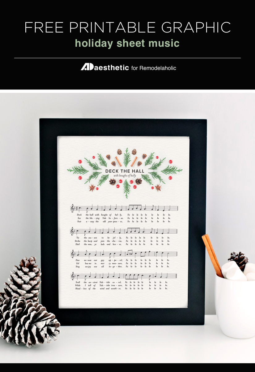 25+ Free Christmas Printables for your Home - Deck The Halls Sheet Music | Remodelaholic