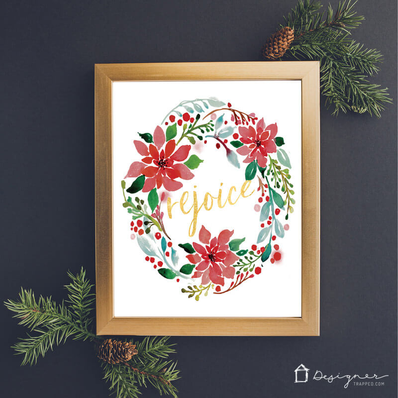 Cute Christmas Printables for your Home - Rejoice | Designer Trapped