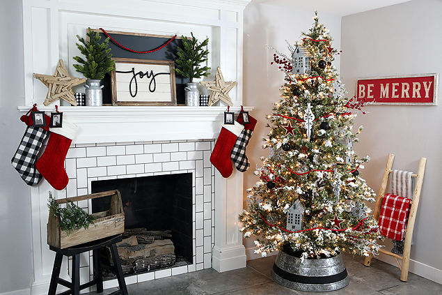 Fun Farmhouse Christmas Tree and Fireplace Mantel
