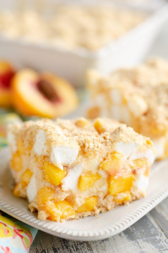 Marshmallow Peach Icebox Dessert