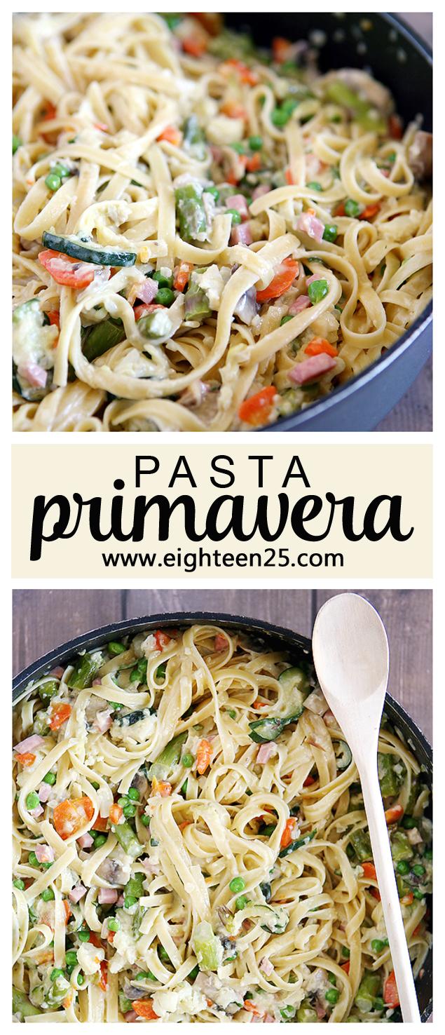 Best Pasta Primavera Recipe.  Creamy fettuccine noodles and lots of yummy veggies. #pasta #pastaprimavera #eighteen25