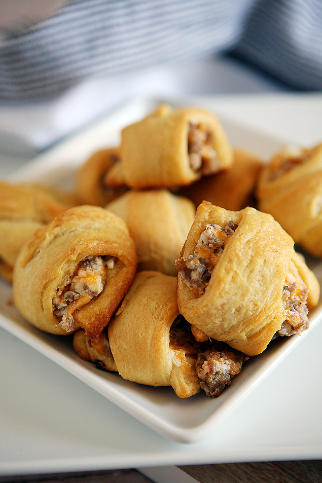 Sausage Cream Cheese Crescent Rolls. The perfect appetizer or breakfast bites!