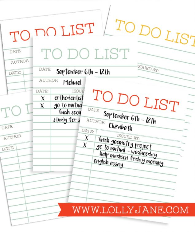 Cute Library Card To Do List | Lolly Jane