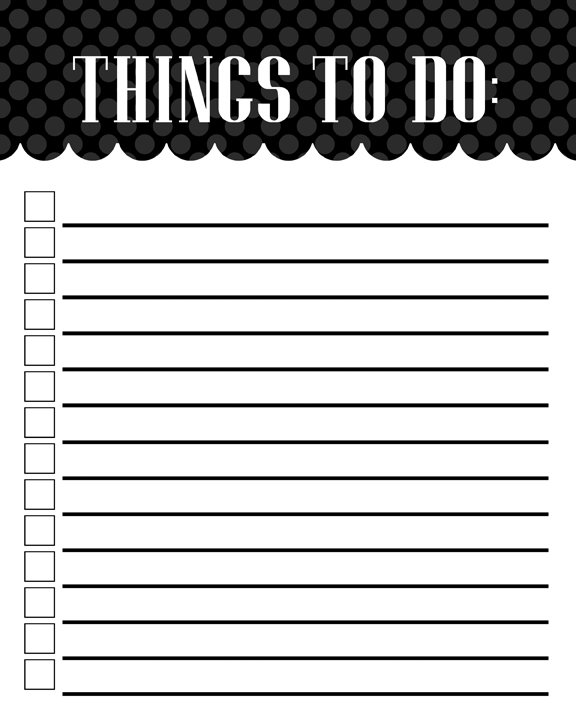 Free Printable Things To Do List | Eighteen25