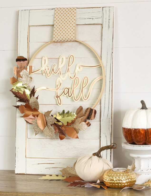 Mixed Metallic Paper Leaves Fall Wreath | The Craft Patch