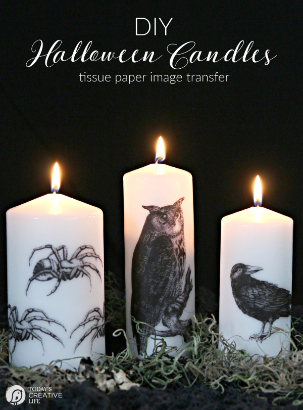 DIY Halloween Candle Using Tissue Paper Image Transfer