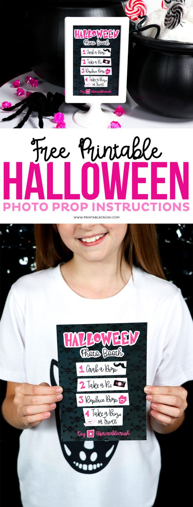Free Printable Halloween Photo Prop Instructions for a Photo Booth!