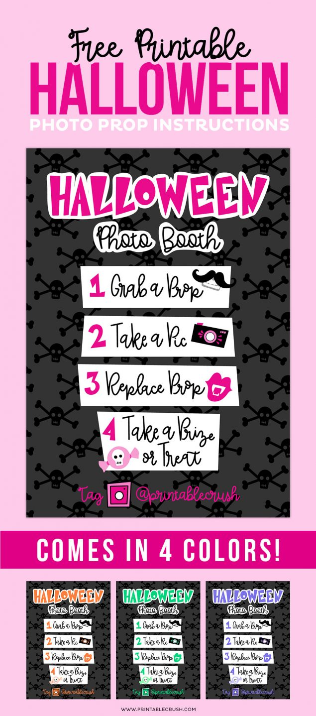 Cutest Halloween Photo Booth Printables! Comes in 4 fun colors.