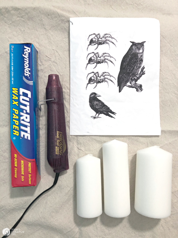 Supplies for making tissue image transfer candles