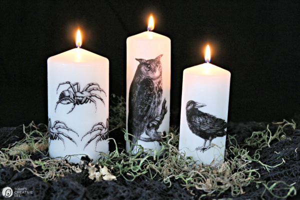Image Transfer Halloween Candles | Halloween Crafts