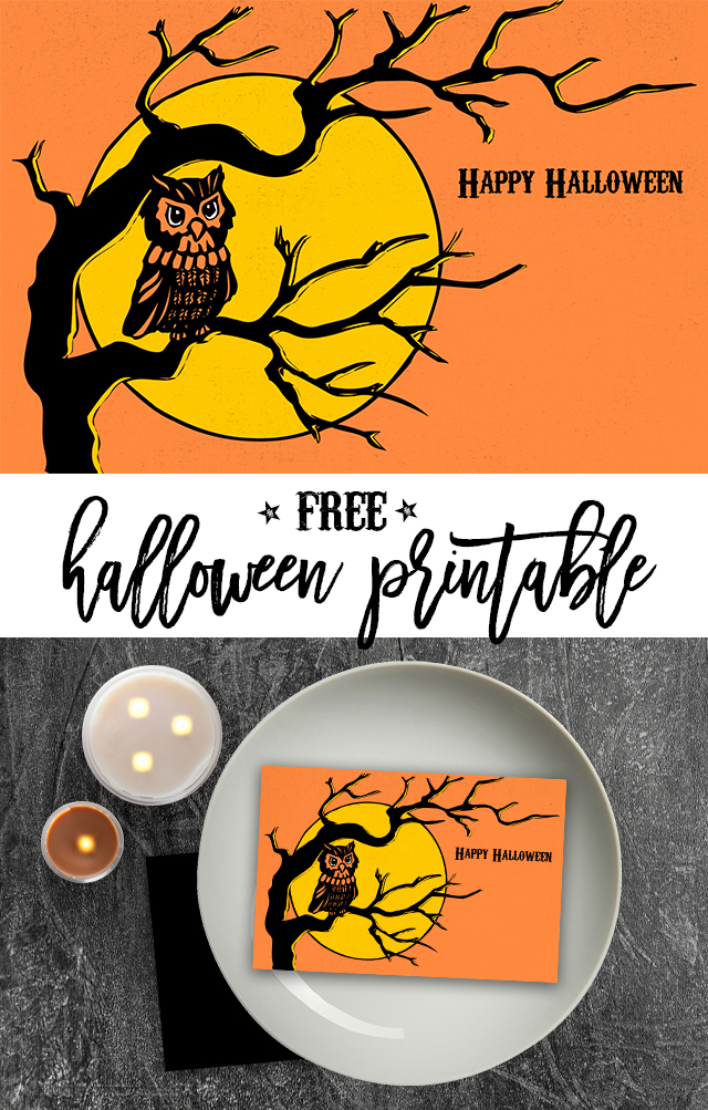 Retro Inspired Printable Halloween Postcard.   The design and color are perfection.  Download yours today at Eighteen25.com