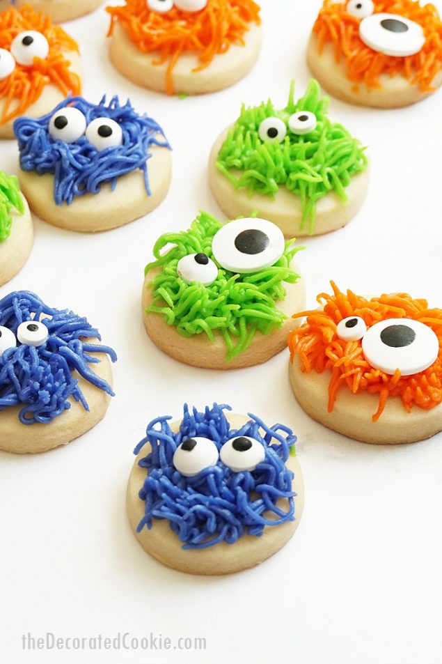 Monster Halloween Cookies with Candy Googly Eyes