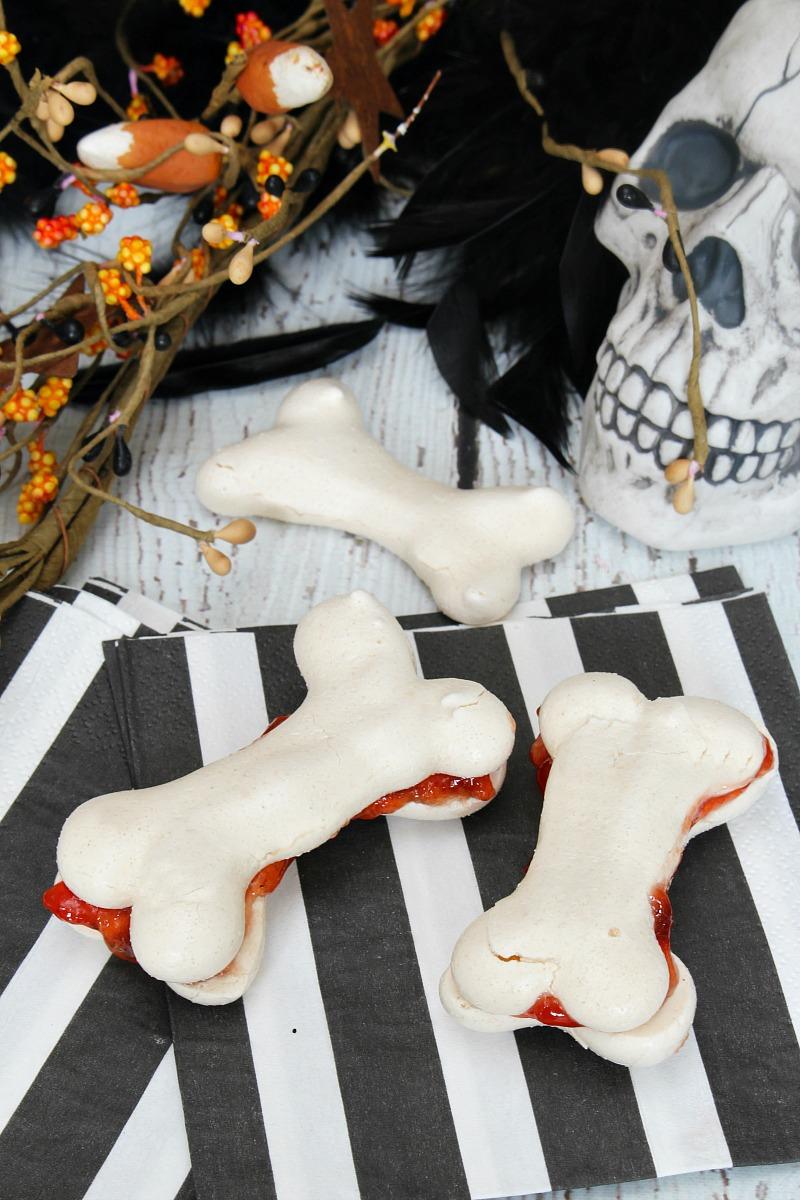 Meringue bones filled with jam. Fun Halloween Treat!