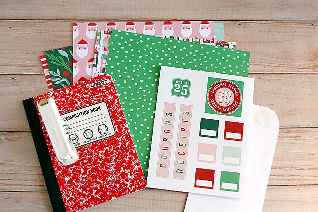 Christmas Planner supplies. Composition notebook, Christmas papers, printables and envelopes.