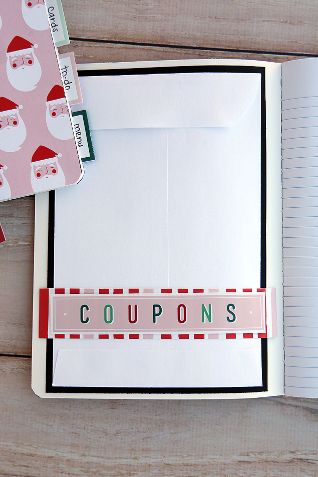 Coupons page in our Christmas Planner