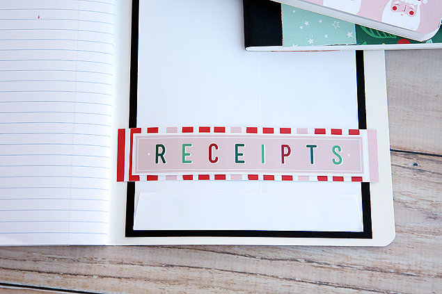 Receipts envelope in our Christmas Planner