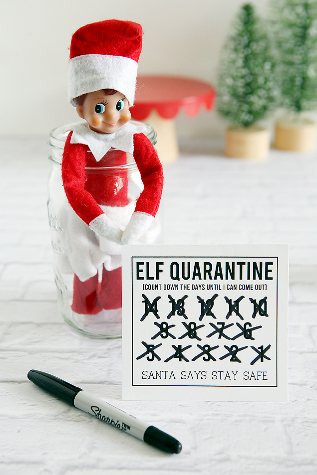 Fun little Elf Quarantine printables. Print them off for free and let the kids cross of the days!  #elf #elfideas