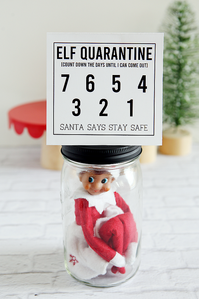 Print off this free Elf Quarantine countdown and let the kids cross of the days until your elf can come out. #elfontheshelf #elfquarantine