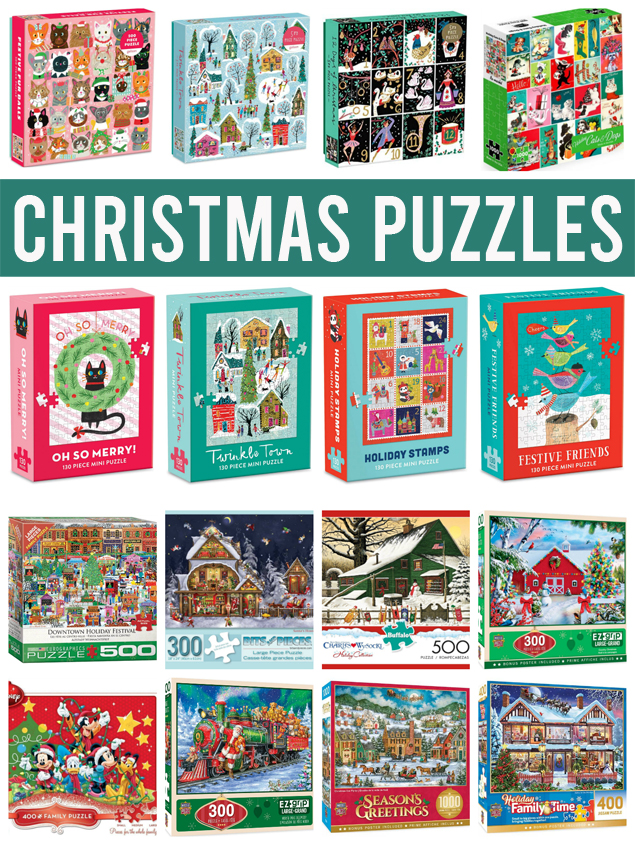 Adorable Christmas Puzzles that make for the perfect family activity! They also are the perfect neighbor gift. #Christmaspuzzle #Holidaypuzzles